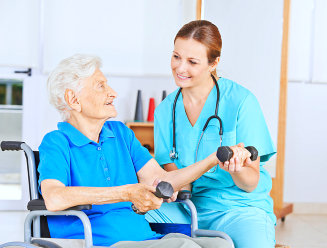 nurse conducting physical theraphy